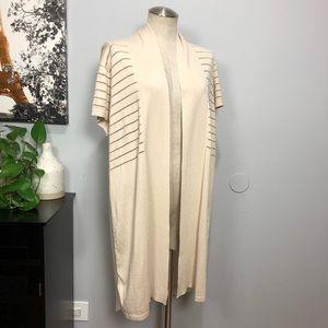 NWTAugust Silk Sheer Stripe Open Front Cardigan XL